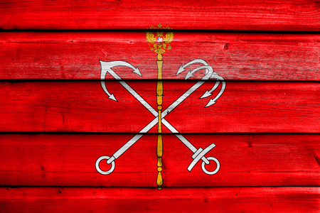 painted wood: Flag of Saint Petersburg, painted on old wood plank background