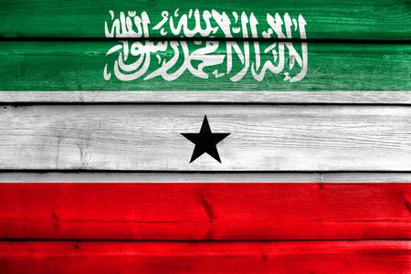 somaliland: Flag of Somaliland, painted on old wood plank background