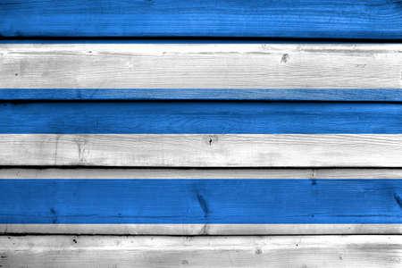 painted wood: Flag of Tallinn, painted on old wood plank background