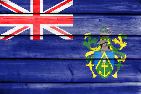 pitcairn: Flag of Pitcairn Islands, painted on old wood plank background