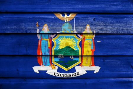 new york state: Flag of New York State, painted on old wood plank background
