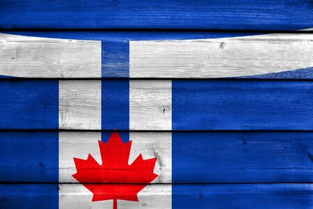 painted wood: Flag of Toronto, painted on old wood plank background
