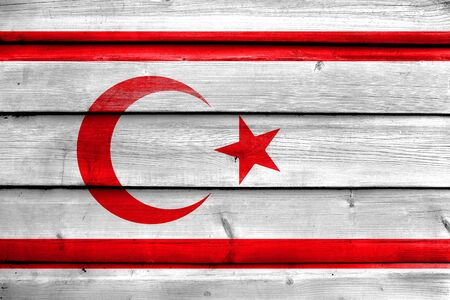 land mark: Flag of Northern Cyprus, painted on old wood plank background Stock Photo