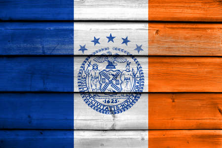old new york: Flag of New York City, painted on old wood plank background