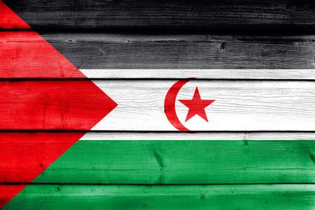 sahrawi arab democratic republic: Flag of Sahrawi Arab Democratic Republic, painted on old wood plank background