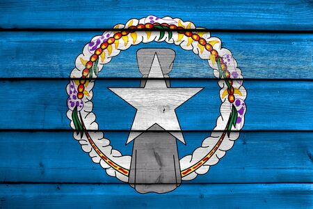 mariana: Flag of Northern Mariana Islands, painted on old wood plank background
