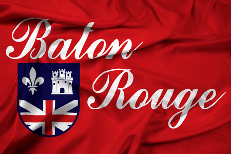 baton rouge: Waving Flag of Baton Rouge, Louisiana Stock Photo
