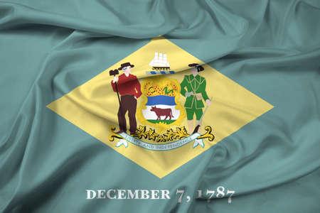 delaware: Waving Flag of Delaware State Stock Photo