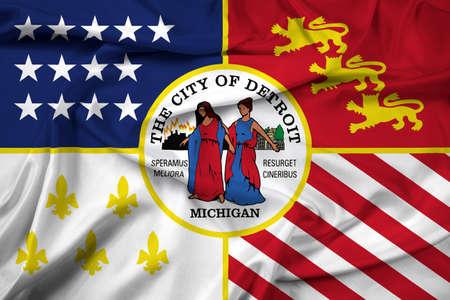 detroit: Waving Flag of Detroit, Michigan