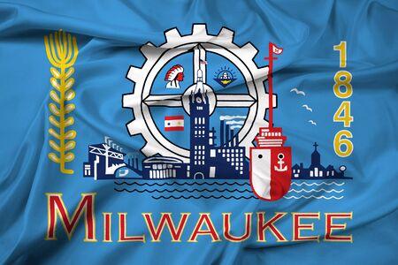 Milwaukee: Waving Flag of Milwaukee, Wisconsin Stock Photo