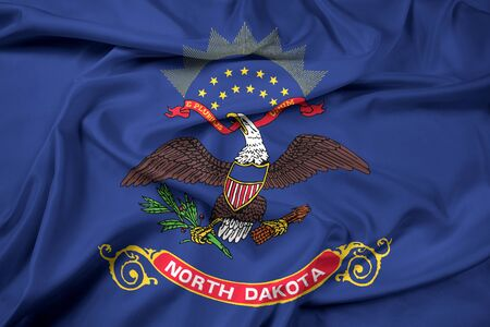 dakota: Waving Flag of North Dakota State Stock Photo
