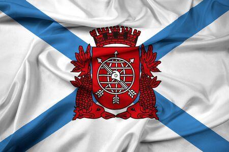 polity: Waving Flag of Rio de Janeiro Stock Photo