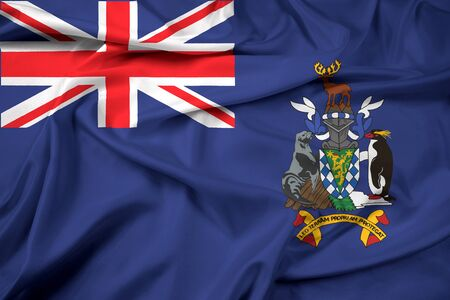 south georgia: Waving Flag of South Georgia and the South Sandwich Islands Stock Photo