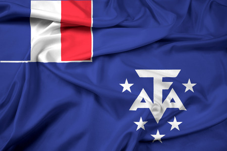 land mark: Waving Flag of the French Southern and Antarctic Lands Stock Photo
