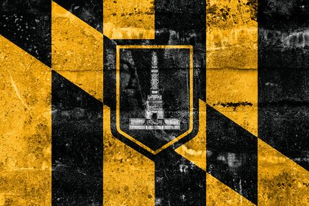 baltimore: Flag of Baltimore, Maryland, painted on dirty wall. Vintage and old look. Stock Photo