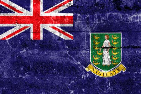 virgin islands: Flag of British Virgin Islands, painted on dirty wall. Vintage and old look.