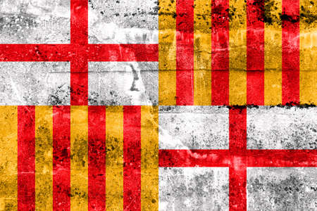 catalonia: Flag of Barcelona, painted on dirty wall. Vintage and old look.