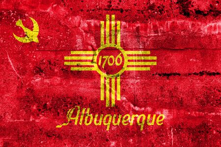 albuquerque: Flag of Albuquerque, New Mexico, painted on dirty wall. Vintage and old look.