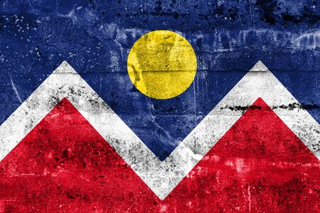 flag of colorado: Flag of Denver, Colorado, painted on dirty wall. Vintage and old look.