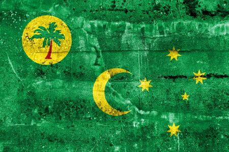 cocos: Flag of Cocos Islands, painted on dirty wall. Vintage and old look.