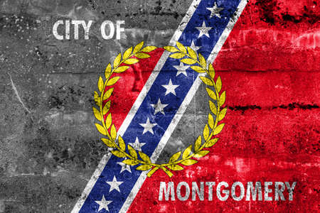 montgomery: Flag of Montgomery, Alabama, painted on dirty wall. Vintage and old look.