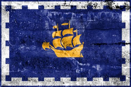 quebec city: Flag of Quebec City, painted on dirty wall. Vintage and old look.