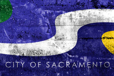sacramento: Flag of Sacramento, California, painted on dirty wall. Vintage and old look.