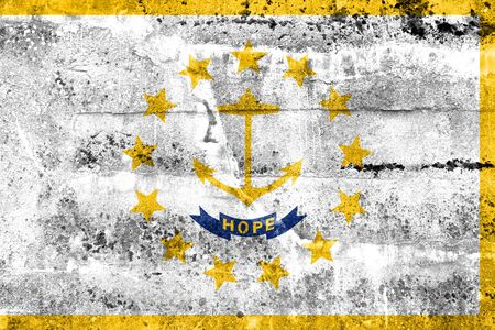 new england: Flag of Rhode Island, painted on dirty wall. Vintage and old look.