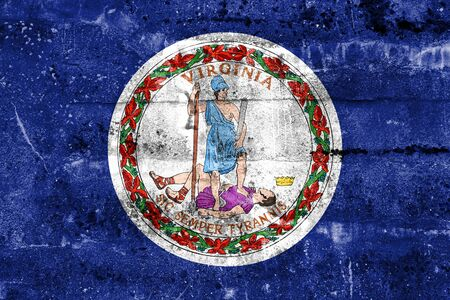 commonwealth: Flag of the Commonwealth of Virginia, painted on dirty wall. Vintage and old look.