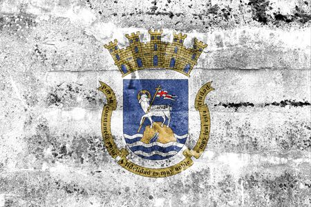 unincorporated: Flag of San Juan, Puerto Rico, painted on dirty wall. Vintage and old look.