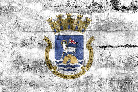 san juan: Flag of San Juan, Puerto Rico, painted on dirty wall. Vintage and old look.