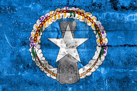 mariana: Flag of Northern Mariana Islands, painted on dirty wall. Vintage and old look.