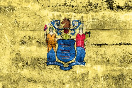 new look: Flag of New Jersey State, painted on dirty wall. Vintage and old look.