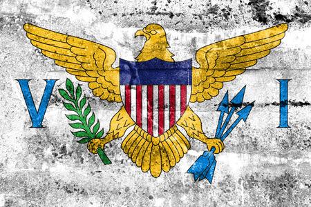 virgin islands: Flag of the U.S. Virgin Islands, painted on dirty wall. Vintage and old look.