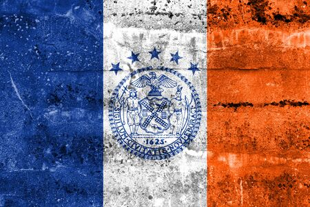 old new york: Flag of New York City, painted on dirty wall. Vintage and old look.