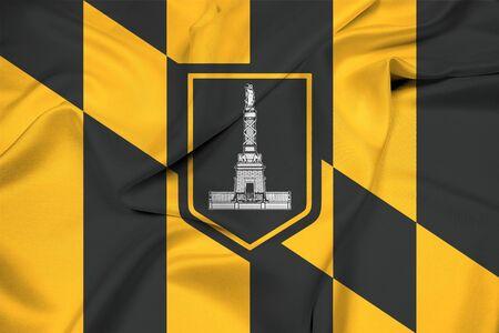 baltimore: Waving Flag of Baltimore, Maryland Stock Photo
