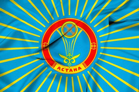 polity: Waving Flag of Astana Stock Photo