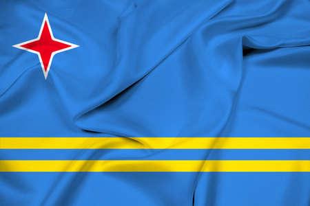 carribean: Waving Flag of Aruba Stock Photo