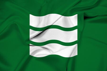 far east: Waving Flag of Hiroshima, Japan Stock Photo