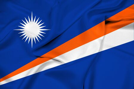 marshall: Waving Flag of Marshall Islands Stock Photo