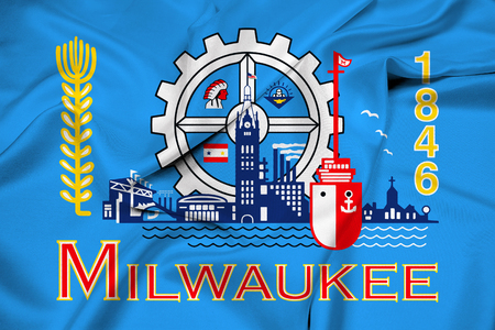 wisconsin flag: Waving Flag of Milwaukee, Wisconsin Stock Photo