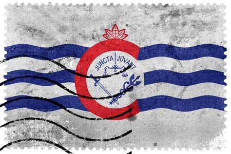 postage stamp: Flag of Cincinnati, Ohio, old postage stamp Stock Photo