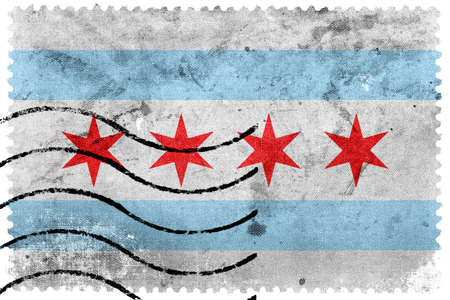 sello postal: Bandera de Chicago, Illinois, franqueo antiguo sello