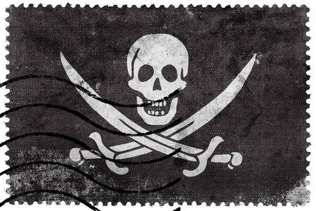 postage: Calico Jack Pirate Flag, old postage stamp Stock Photo