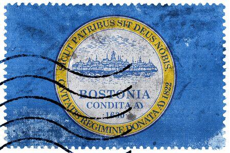 massachusetts: Flag of Boston, Massachusetts, old postage stamp