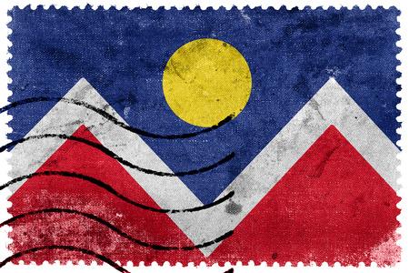postage: Flag of Denver, Colorado, old postage stamp Stock Photo