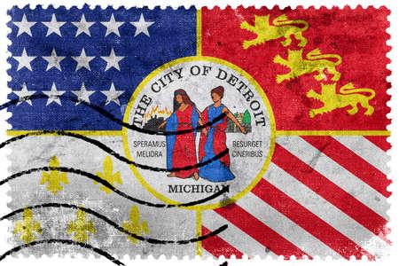 sello postal: Bandera de Detroit, Michigan, antiguo sello de correos