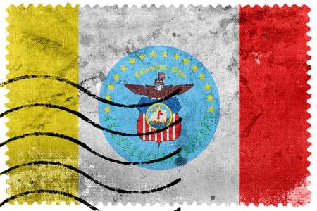 postage: Flag of Columbus, Ohio, old postage stamp