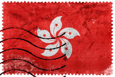 chinese postage stamp: Flag of Hong Kong, old postage stamp