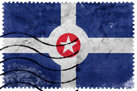 sello postal: Bandera de Indian�polis, Indiana, antiguo sello de correos